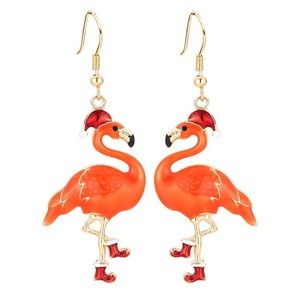 Jewelry - BRAND NEW CHRISTMAS FLAMINGO EARRINGS WEAR 2 WAYS